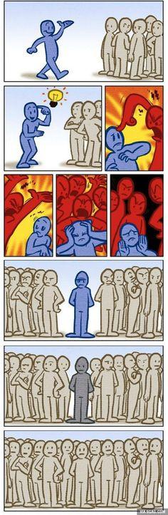 Bolha social, as pessoas estão cada vez menos querendo ouvir argumentos difentes das que elas acreditam por isso, se dividem em grupos fechados e só ouvem aquilo que elas querem ouvir e falar