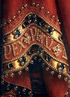 Detail Ghent Altarpiece The Adoration Of The Mystic Lamb, or The Lamb Of God. This is a detail of God's Robe. Ghent Belgium