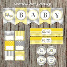 Yellow Grey Baby Shower Supplies INSTANT DOWNLOAD Banner Cupcake Toppers Food Tents Water Bottle Labels DIY Printable Party Package 1 sweet baby 15.00