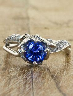 Organic Sculptural Engagement Rings by Ken & Dana Design - Sundara Sapphire top view