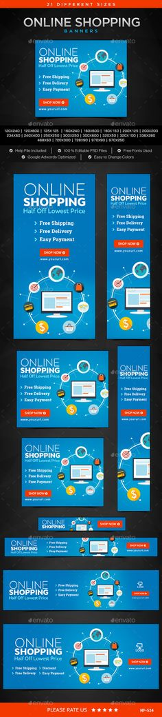 Online Shopping Banners Template #design Download: http://graphicriver.net/item/online-shopping-banners/12190843?ref=ksioks