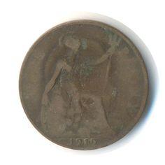 George V Penny 1919 Heaton Vintage Coin Code: by JMCVintagecards