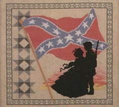The Dixie Rebel Flag GWTW Cross Stitch Pattern