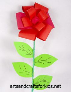 I will substitute heart shaped leaves to make it more Valentine-y :) Cute Kids Crafts, Craft Projects For Kids, Crafts To Make, Arts And Crafts, Paper Crafts, Craft Ideas, Diy Crafts, Fun Ideas, Rose Crafts