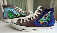 : [link] I used fabric paint and a small brush, just like in the Monkey Island chucks Day of the Tentacle Converse Converse Sneakers, Converse All Star, High Top Sneakers, Day Of The Tentacle, Monkey Island, Nerd, Fashion Days, Vans Sk8, Custom Shoes