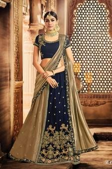Find wide range of fashion jewellery, imitation, bridal, artificial, beaded and antique jewellery online. Buy imitation jewellery online from designers across India. Call us on [phone] now to resolve your queries. Navy Blue Lehenga, Gold Lehenga, Lehenga Style Saree, Lehenga Choli, Sari, Lehenga Online Shopping, Straight Cut Pants, Velvet Fashion, Gold Silk