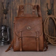 0abc6a4914 Large Leather Backpack Vintage Leather Backpack Travel 9036 - ROCKCOWLEATHERSTUDIO  Leather Backpack For Men