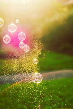 Bokeh photography - magic bubbles green spring fresh sunlight golden