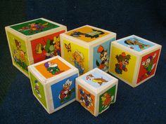Vintage Disney Wood Stack Boxes Toys 1950's Characters for Child Kid Baby Room | eBay