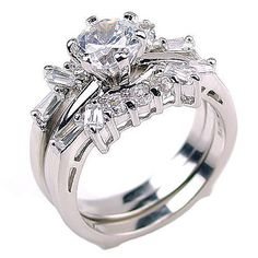 Emma: 2.0ct Simulated Diamond CZ Wedding Set with Ring Guard - Trustmark Jewelers