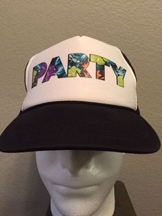 9fe559ebe0c Vintage PARTY Snapback Hat Otto Trucker Cap Black and White  Otto  Trucker  Hawaiian Print
