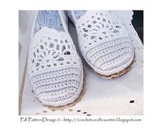 Lace and Stripe Slippers/Espadrilles - Basic Slipper Crochet Pattern - Istant Download