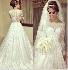 Vestidos De Noivas Long Sleeve Lace Wedding Dresses Vintage