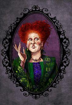"""Hocus Pocus"" (Buena Vista, Bette Midler as Winifred ""Winnie"" Sanderson. Adornos Halloween, Fete Halloween, Halloween Movies, Halloween Signs, Disney Halloween, Holidays Halloween, Vintage Halloween, Halloween Table, Vintage Holiday"