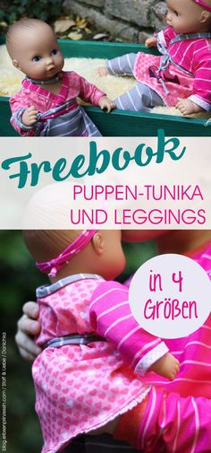 Gratis-Puppenschnittmuster: Leggings und Lieblings-Tunika in Größe 30,33,36 und 43. Puppenmode selber nähen aus Jersey. #nähen #freebook #puppenkleidung #schnittmuster #puppenhose
