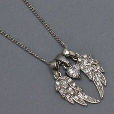 Amazon.com: Bling Bling Womens Necklace, Angel Wings with Stones & Heart, Silver Rhodium: Jewelry