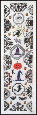 Halloween Quaker Bellpull - Cross Stitch Pattern- thread list- Dinky Dyes (130-need 8, 142, 90, 93, 117, 143, 63, 142, 49, and 50.