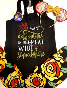 """Our """"I want adventure in the great wide somewhere"""" glitter shirt is perfect for your next Disney adventure! This listing is for the shirt only!"""