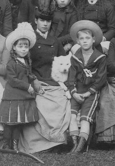 Empress Maria Feodorovna and her two youngest children Grand Duke Michael Alexandrovich and Grand Duchess Olga Alexandrovna