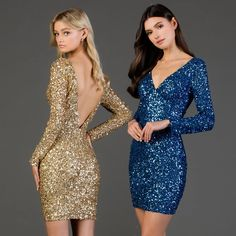 Gold or Blue? Make it your turn to shine in this cocktail dress from Scala 60036.  shop this look ➡ SCALA - 60036 Fully Sequin V Neck Long Sleeve Fitted Cocktail Dress   #sweetenedbycc •  #shopcouturecandy #newarrivals#eveningdress #fashionnova #styleoftheday #elegant