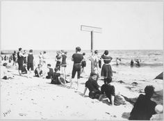 People in bathing suits on the beach at Far Rockaway. A sign on the beach says, 'This line exclusively for ladies', Far Rockaway, Rockaway Beach, New York Pictures, Photo Essay, City Life, Old Photos, New York City, Bathing Suits, Dolores Park
