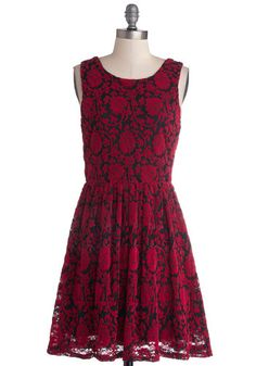 Floral Flashback Dress - Knit, Red, Black, Floral, Party, A-line, Tank top (2 thick straps), Good, Scoop, Mid-length, Variation, Gifts Sale