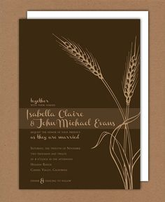 Printable/DIY  Autumn Wheat Wedding Invitation & by hyssopdesign, $75.00