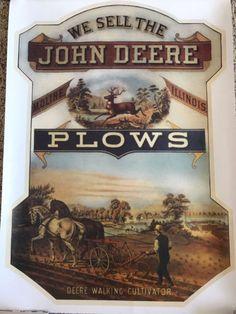 Art Poster: 1990 Advertising Reproduction Poster John Deere We Sell Plows Walking Cultivator