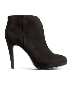 Black ankle boots in faux suede, with side zip and covered platform at front. | H&M Shoes