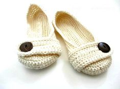 Custom order with soles & pink bows. Women's Crochet slippers  Button slippers  by jaysboutiquecrochet, $38.00
