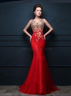 Ericdress Amazing V-Neck Beading Sweep Train Mermaid Evening Dress 1