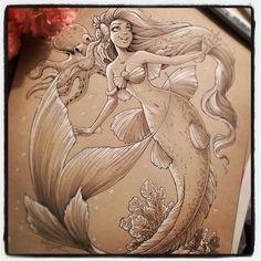I love the toned paper. Mermaid Artwork, Mermaid Drawings, Mermaid Tattoos, Toned Paper, Mermaids And Mermen, Mythical Creatures, Cool Drawings, Pencil Drawings, Cool Artwork
