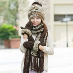 Rabbit fur knit hat scarf and gloves set for women winter wear