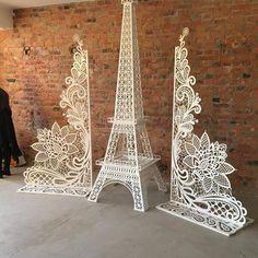 Giant Eiffel Tower with Ornaments Paris Party, Paris Theme, Stage Decorations, Wedding Decorations, Laser Cutter Ideas, Laser Cut Patterns, Laser Art, Paris Birthday, Carving Designs