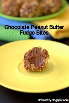 Grain Crazy: Chocolate Peanut Butter Fudge Bites Rolled in granola. So creamy and good.