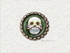 -s045- Kronkorken Magnet TOTENKOPF, Skull Schnurrbart,  von Mondcatze´s Zauberwerkstatt http://de.dawanda.com/shop/Mondcatze