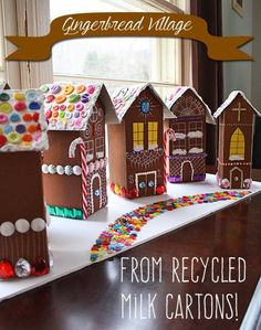 Upcycling gingerbread house made from milk carton – Basteln mit Milchkartons – Welcome Crafts Home Christmas Activities, Christmas Crafts For Kids, Christmas Projects, Holiday Crafts, Holiday Fun, Christmas Decorations, Diy Christmas Village Houses, Christmas Gingerbread, Noel Christmas