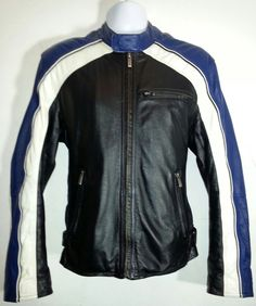 WILSON Leather M. Julian Cafer Racer Black Blue White Men's Size M