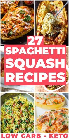 The Best Keto Spaghetti Squash Recipes! If you need a few low carb spaghetti squash recipes to add to your meal plan, check out these easy spaghetti s. Healthy Low Carb Recipes, Low Carb Dinner Recipes, Low Carb Keto, Keto Recipes, Healthy Dinners, Healthy Foods, Healthy Eating, Low Carb Spaghetti Squash Recipe, Low Carb Zucchini Fries