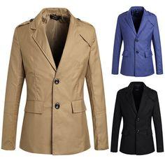 NQ Mens Casual Jacket Solid Epaulet Solid Suit Blazer Overcoat L Khaki Mens Fashion Blazer, Men Fashion, Blazer Suit, Blazer Jacket, Blazers For Men, Mens Suits, Fit Men, Slim, Suit Jackets
