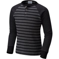 Columbia Sportswear Boys' Trulli Trails Thermal Henley (Black, Size X Small) - Boy's Apparel, Boy's Casual Tops at Academy Sports