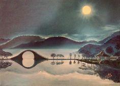 Moon Bridge - painting by Judy Jones fineartamerica.com #bridge #landscape #artforsale