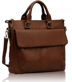 Office Satchel with Flap - brown