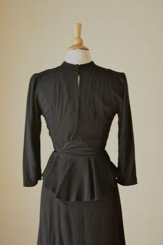 Perfect 1940s black jersey peplum dress// vintage by dustysociety, $90.00