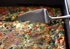 Baked Frittata (with spinach, cheddar and cherry tomatoes)