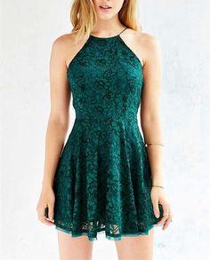 2016 Custom Green Lace Homecoming Dress,Halter Sleevelss Evening Dress,Short…