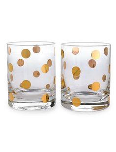 Gold dot glasses - set of 2 - love! #gold