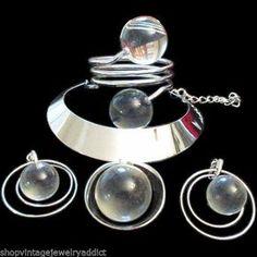 Vintage Trifari Chrome Space Age Lucite Drop Dangle Necklace Earrings & Bracelet