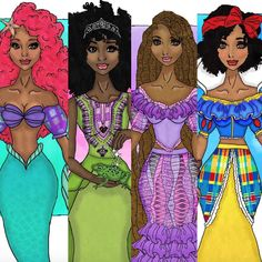 Saint Vincent Artist Reimagines Disney Princesses as Afro Caribbean  Read the article here - http://www.blackhairinformation.com/general-articles/list-posts/saint-vincent-artist-reimagines-disney-princesses-afro-caribbean/