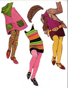 (⑅ ॣ•͈ᴗ•͈ ॣ)♡                                                             ✄Paper Dolls The Mods 1967 - outfits, via Etsy.